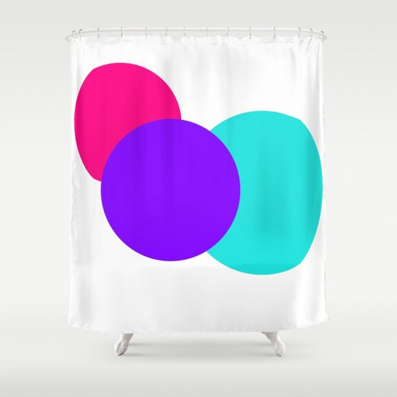 Shower Curtain Pink Purple Turquoise White Circles