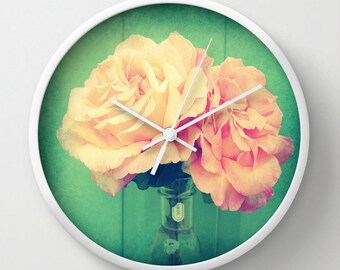Pink Clock, Romantic Clock Floral Clock, Pink Wall Clock, Pink Flowers Clock Pink Clock, Home Decor, Kitchen Clock, Girl's Nusery Clock