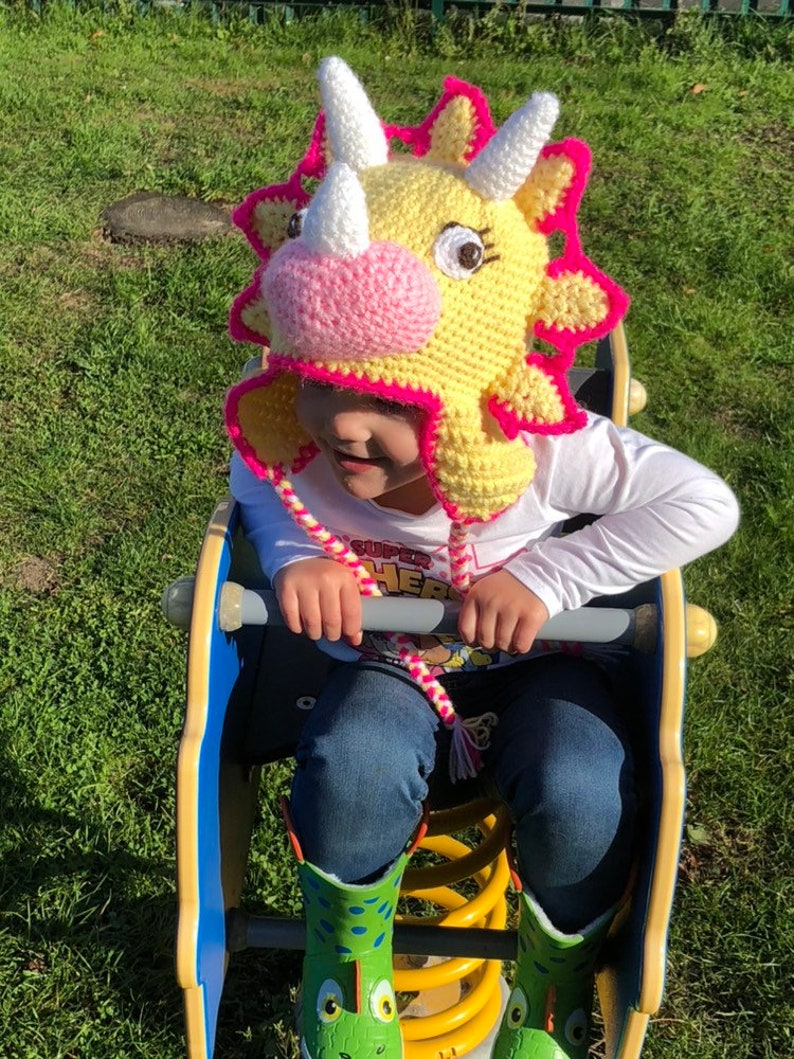 beanie hat dinosaur hat crochet beanie Triceratops hat