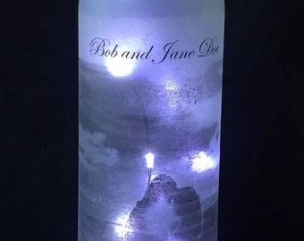 Custom Lighted Wine Bottle Centerpiece