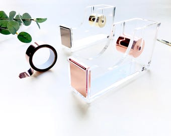 Golden & Clear Acrylic Tape Dispenser Holder。Acrylic Desk Accessories。Stylish Stationery。Tape Stand。Desktop Stationery。Gift For Her