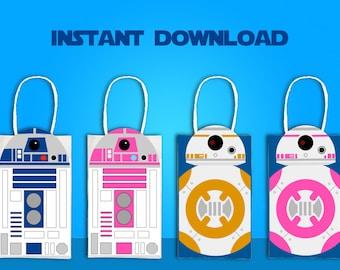 Star Wars R2D2 & BB8 Party Favor Bag Printable, Star Wars Birthday Party Goodie Bag, Star Wars Party Supplies, Star Wars Valentine Bag