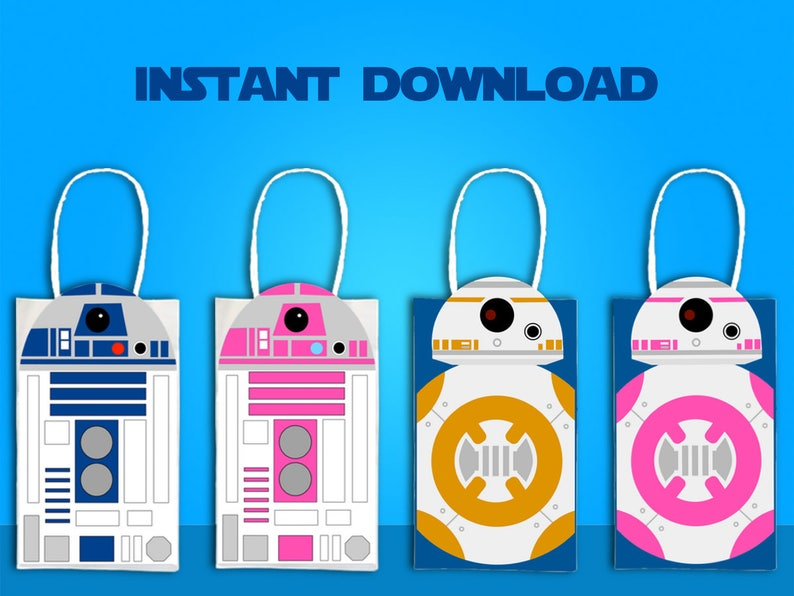 image about Bb 8 Printable known as Star Wars R2D2 BB8 Social gathering Want Bag Printable, Star Wars Birthday Get together Goodie Bag, Star Wars Celebration Products, Star Wars Valentine Bag