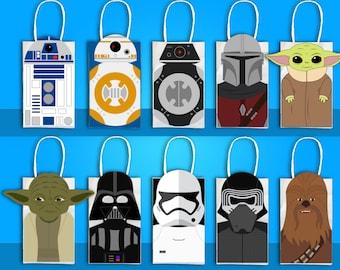 Star Wars Party Favor Bag,  Star Wars Party Goodie Bag, R2D2, BB8, Yoda, Chewbacca, Stormtrooper, Darth Vader Party, Mandalorian, Baby Yoda
