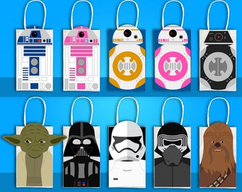 R2D2, BB8, Yoda, Chewbacca, Stormtrooper, Darth Vader Party, BB9e Favor Bag Printables, Star Wars Party Goodie Bag, Star Wars Party Favor