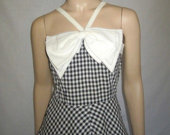 1950's Black and White Checked Sundress