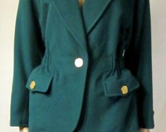 2813bda9828 Yves Saint Laurent-Rive Gauche-Emerald Green Stylish Jacket-Paris, France