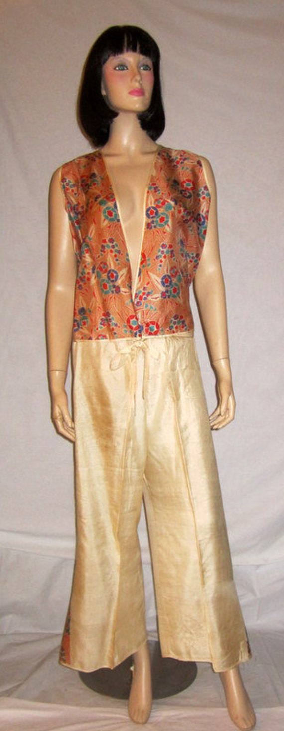 Rare, Art Deco, 1920's, Silk Printed Pajama/Loungi