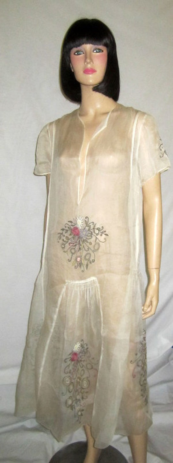 1920's Hungarian White Voile Summertime Embroidere