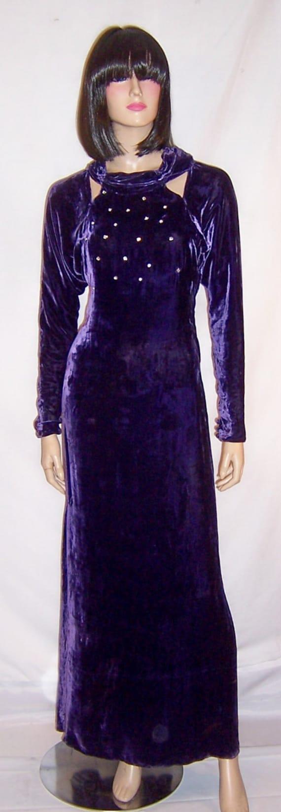 1930's Violet Silk Velvet Evening Gown with Rhines