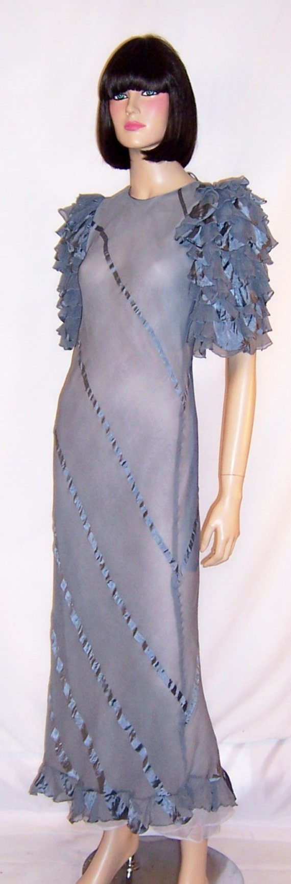 1930's Periwinkle Blue Evening Gown with Ruffled S