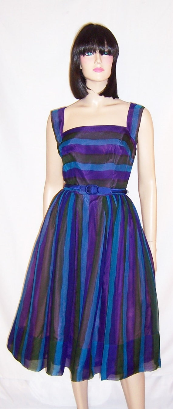 1950's Mr. Mort Vibrant Striped Chiffon Cocktail D