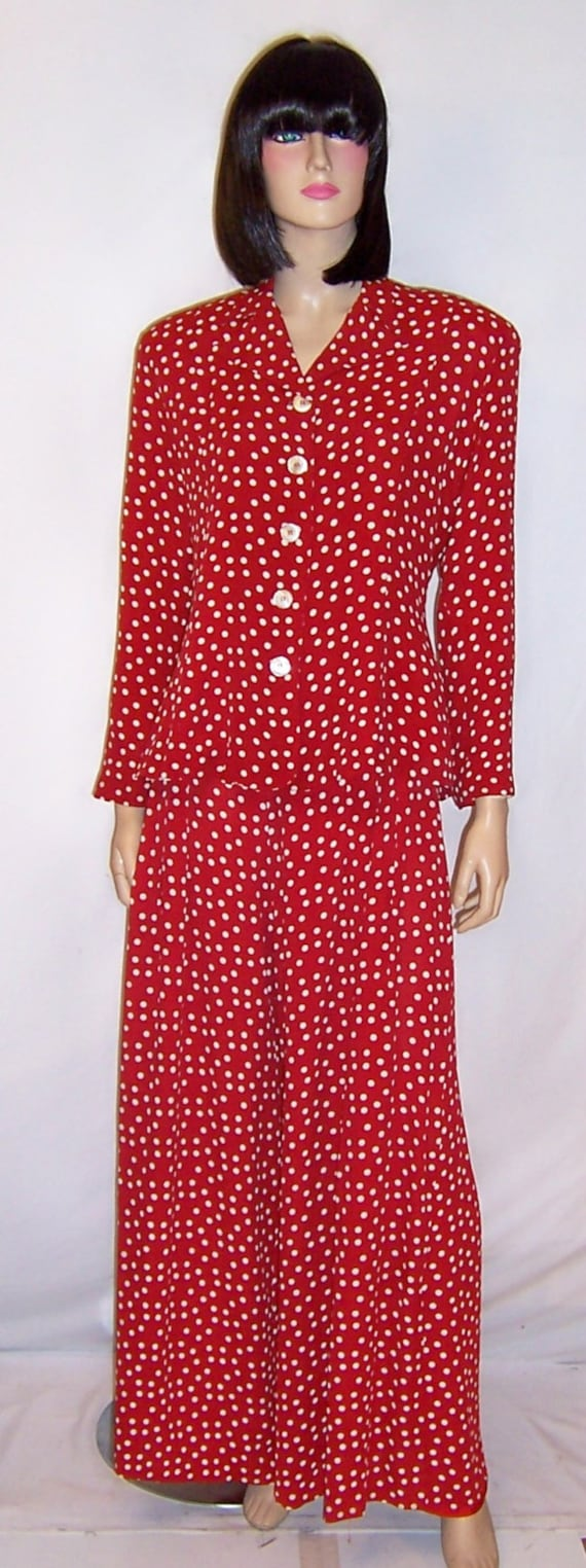 Betsey Johnson-Red and White Polka-Dotted Pant Sui