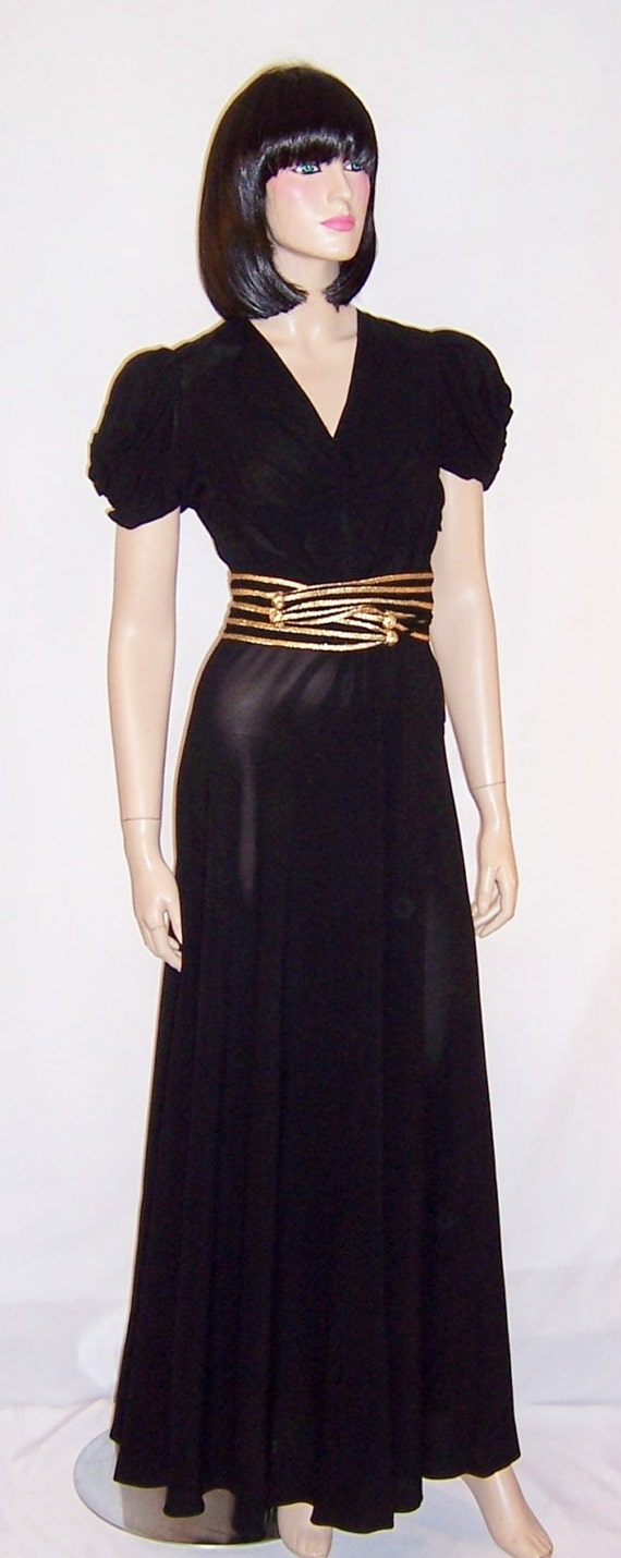 1930's to 1940's Fabulous Black Crepe Gown with Go