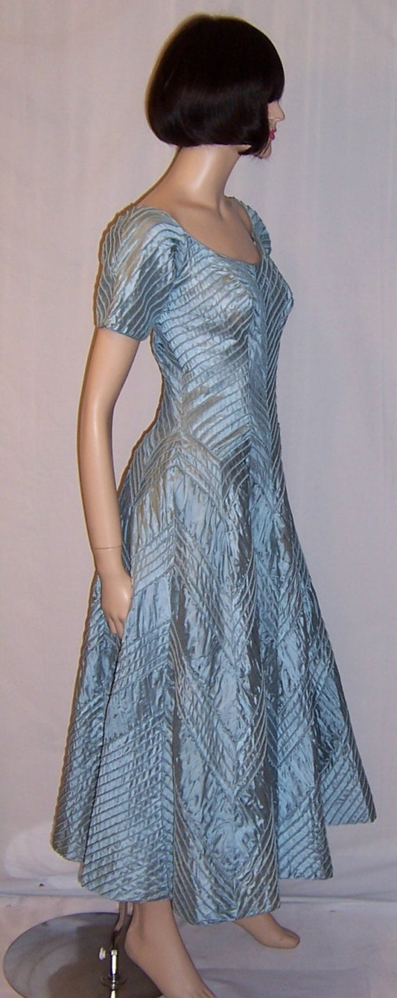 Ceil Chapman 1950's Ice Blue Pintucked Gown - image 2