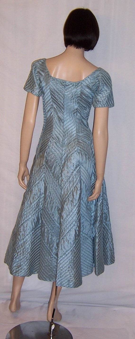 Ceil Chapman 1950's Ice Blue Pintucked Gown - image 3