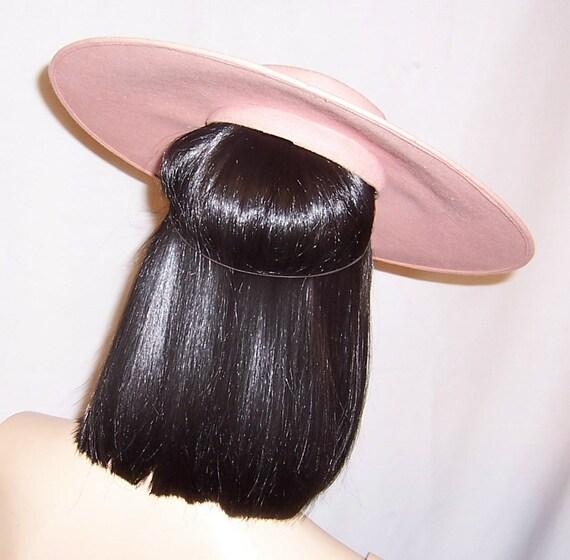 Depression Era-Pink Wool Felt Platter Hat with Ro… - image 3