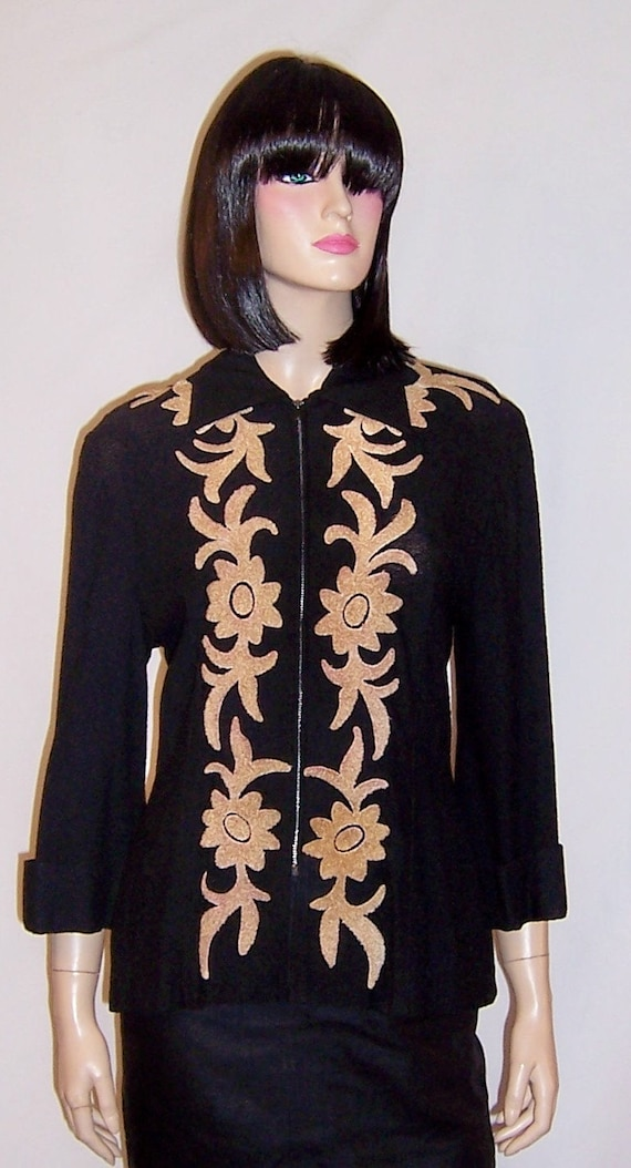 1940's Black Knit Jacket with Tan Chenille Appliqu