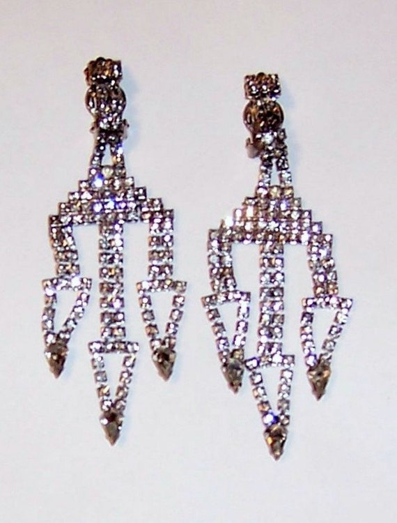 1960's Clear Rhinestone, Clip-On, Dangle Earrings