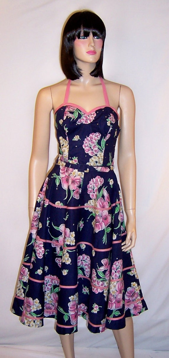 Fanciful 50's Navy & Pink Sundress with Halter Nec