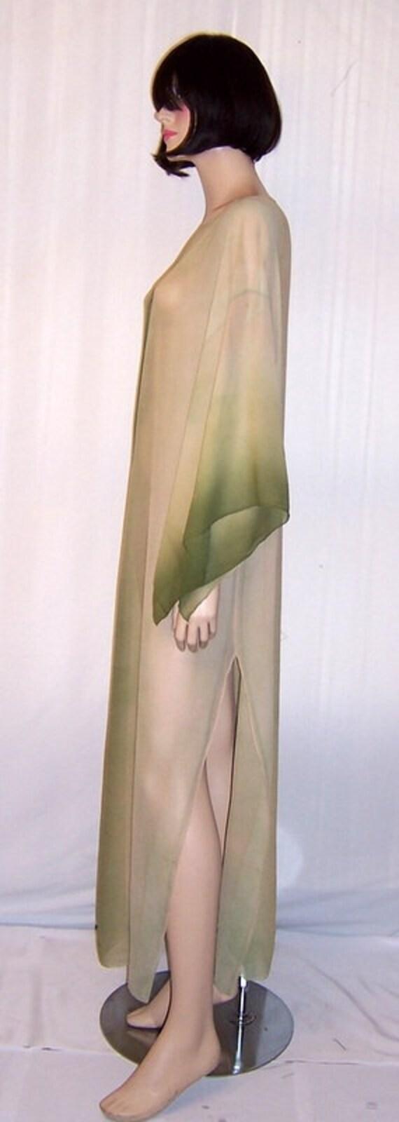 1920's Hand-Dyed, Moss Green, Silk Chiffon Caftan - image 4