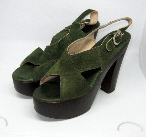 Authentic 1970's Green Suede and Wooden Platform … - image 1