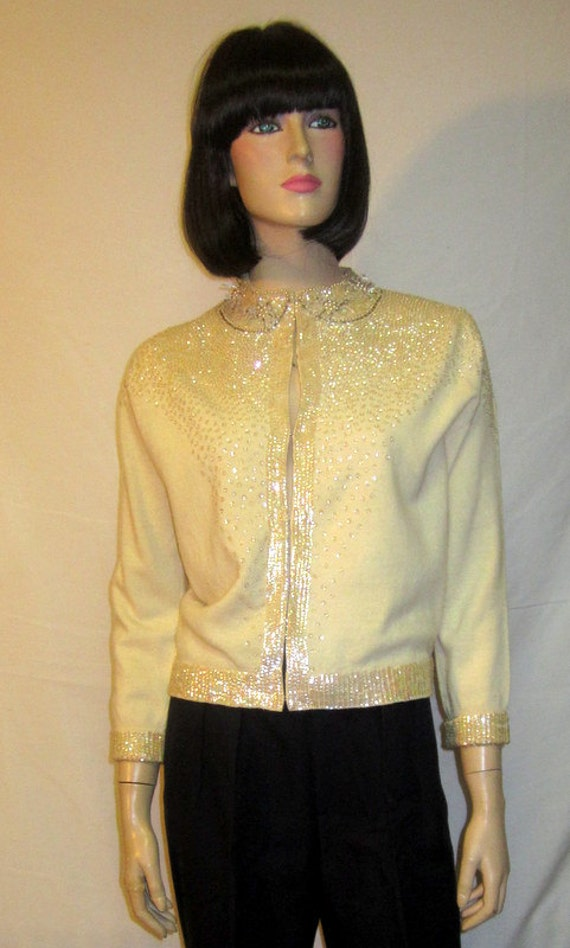 1950's White Beaded and Sequined Evening Sweater/C