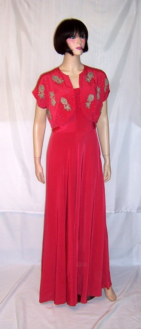 Early 1940's Cerise Red Sleeveless Gown with Embel