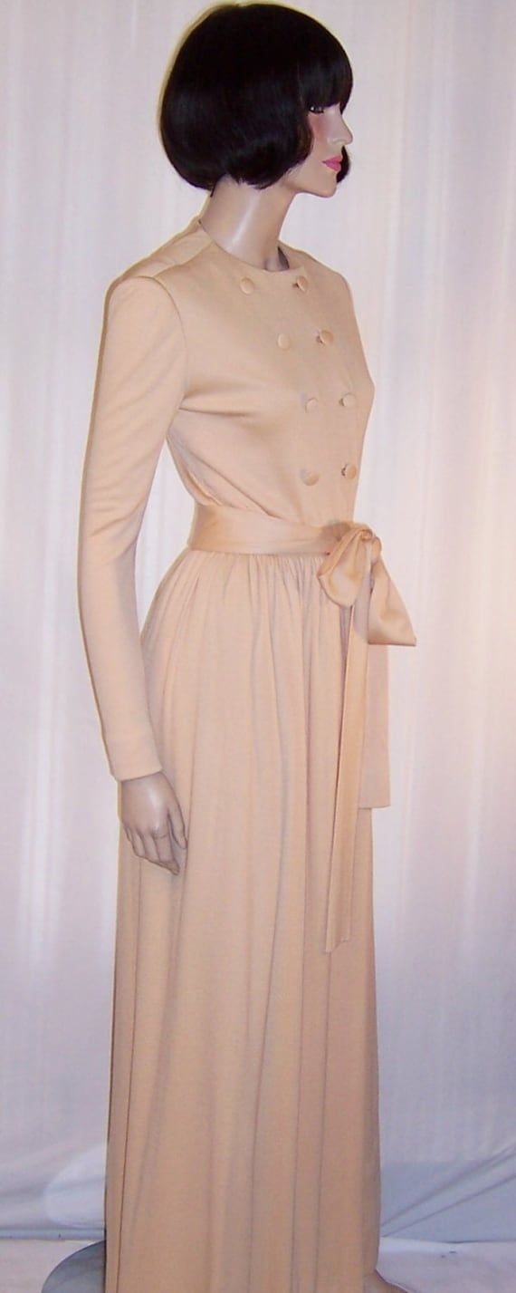 Norman Norell Peach Parfait-Colored Gown with Belt