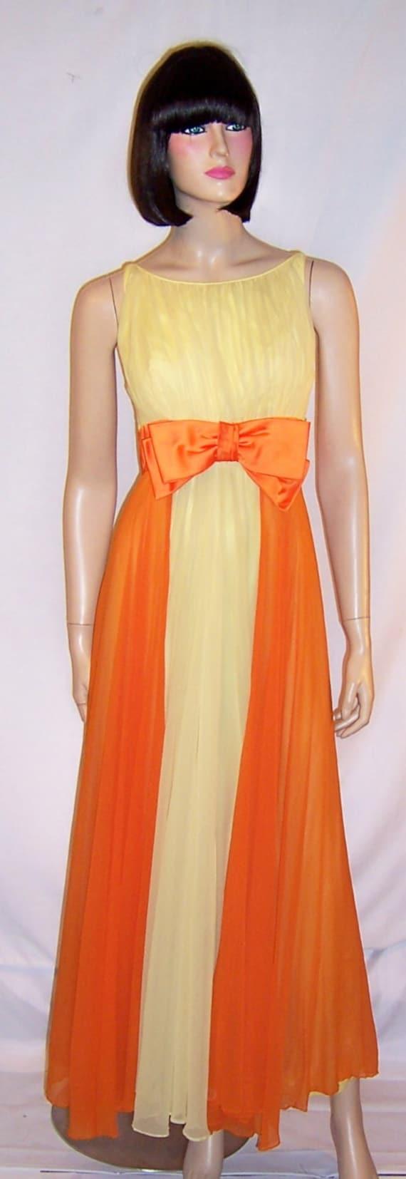 1960\'s Pale Yellow & Orange Silk Chiffon Evening Gown | Etsy
