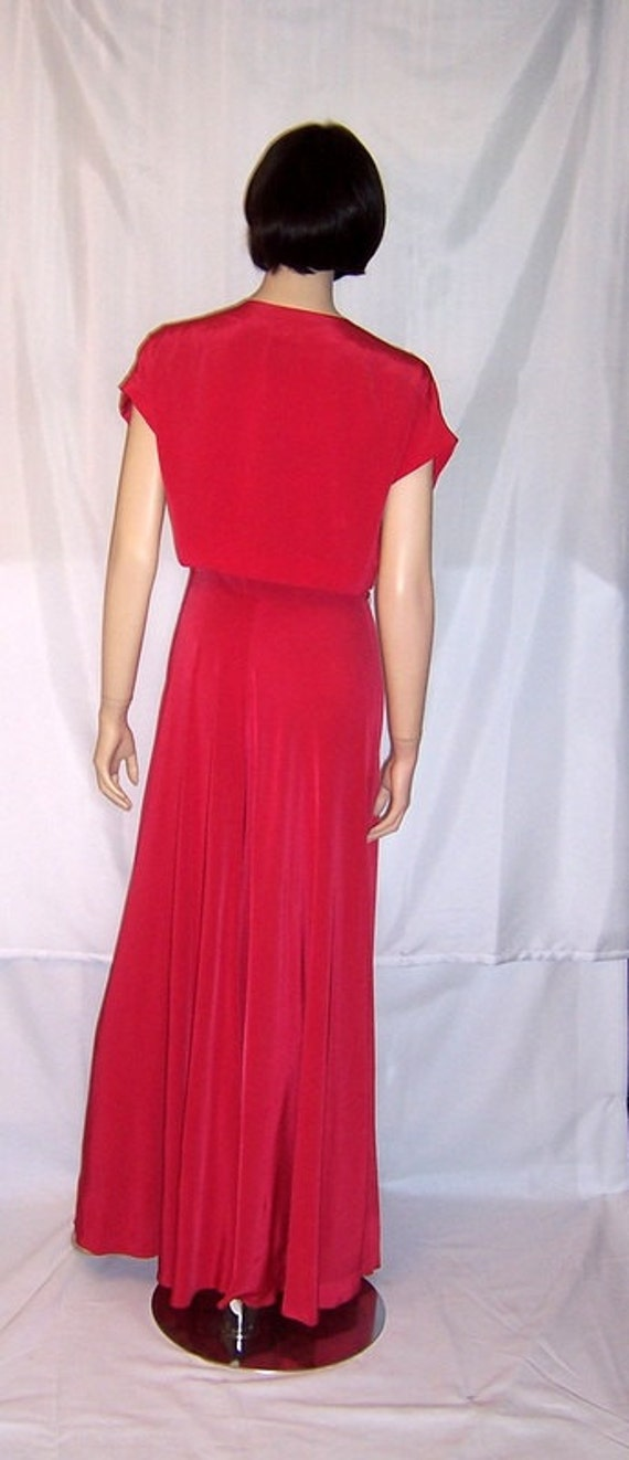 Early 1940's Cerise Red Sleeveless Gown with Embe… - image 2
