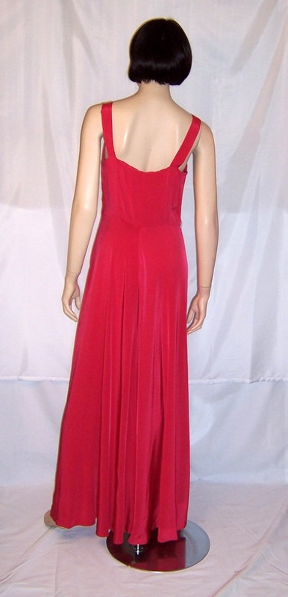 Early 1940's Cerise Red Sleeveless Gown with Embe… - image 5