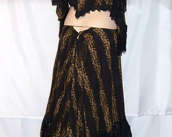 Victorian Black Bodice and Skirt with Embroidery, Lace, and Beadwork