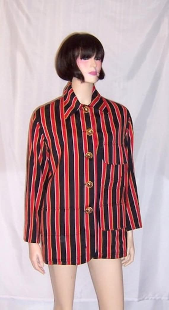 """1980's Red, Black, and Yellow Striped """"Moschino Co"""