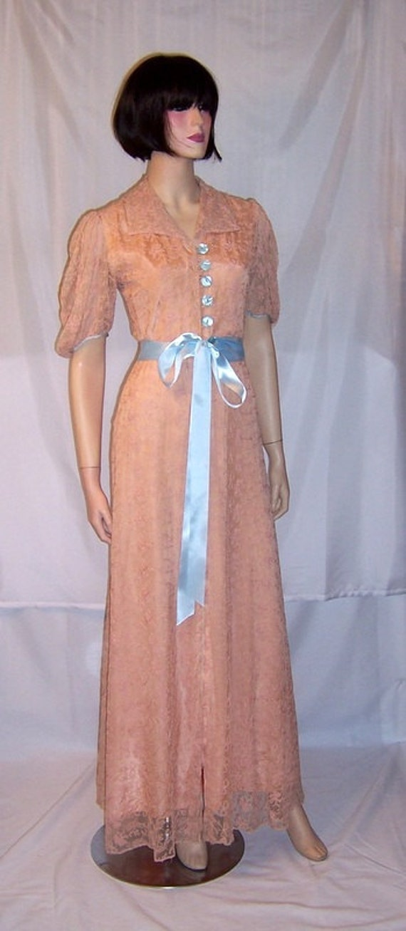 1940's Pink Lace Peignoir with Pale Blue Accents