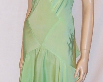 1930's Bias-Cut, Pastel Green Silk Crepe Sleeveless Gown