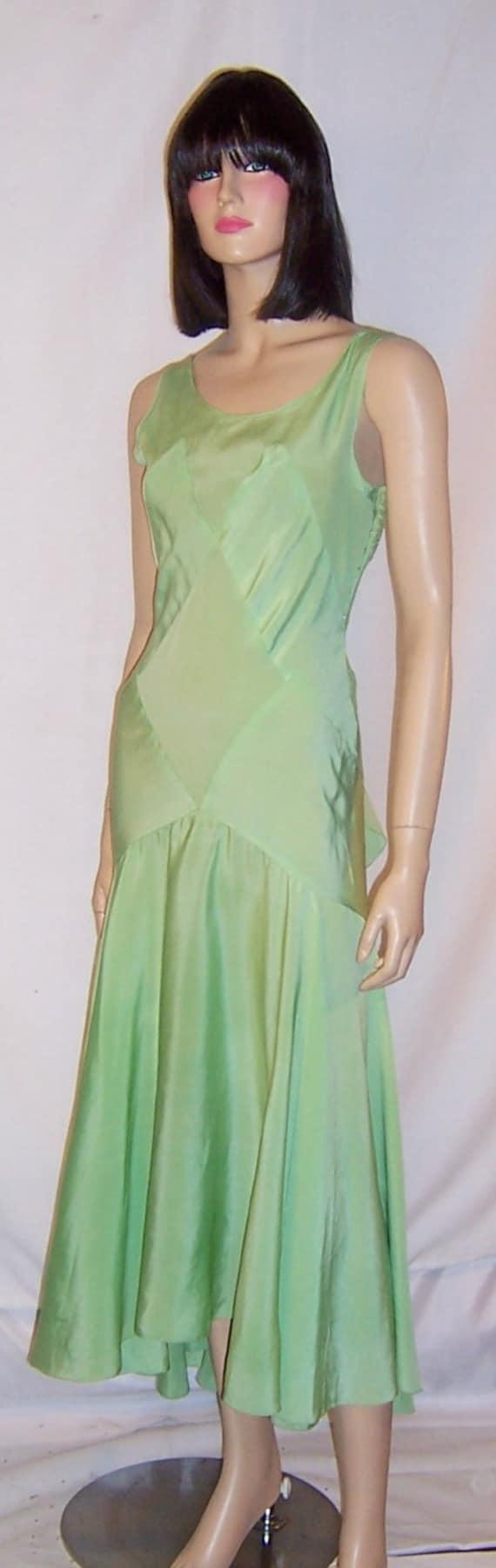 1930's Bias-Cut, Pastel Green Silk Crepe Sleeveles