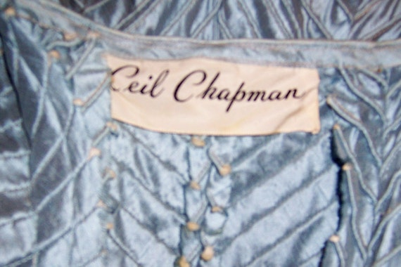 Ceil Chapman 1950's Ice Blue Pintucked Gown - image 5