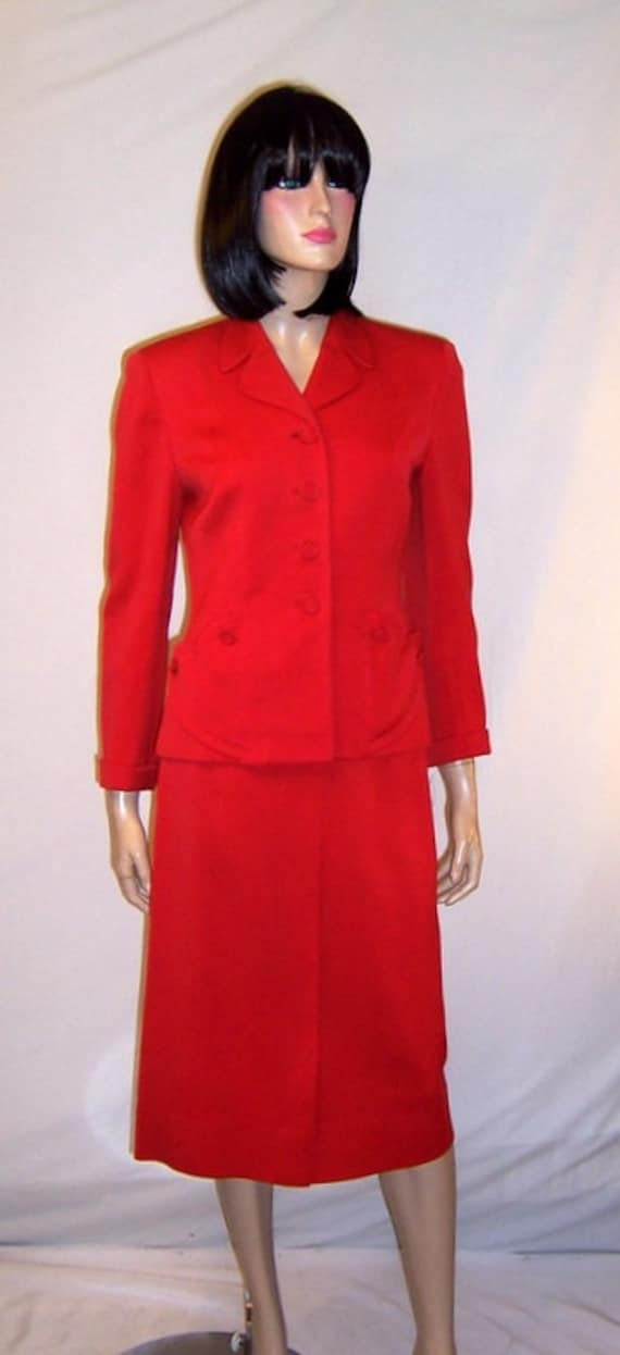 1940's Scarlet Red Gabardine Suit
