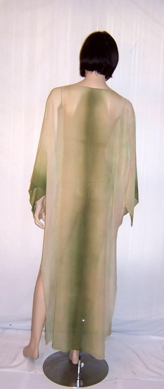 1920's Hand-Dyed, Moss Green, Silk Chiffon Caftan - image 2