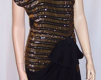 1940's Black Crepe and Gold Sequined Gown