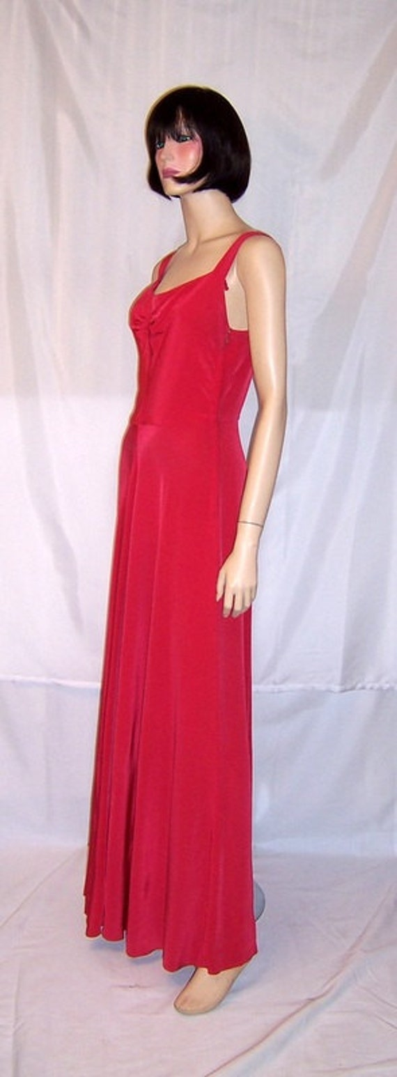 Early 1940's Cerise Red Sleeveless Gown with Embe… - image 4