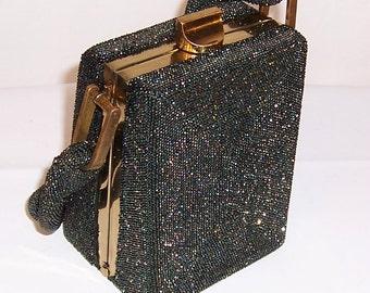 1940's Green Carnival Glass Beaded Box Handbag