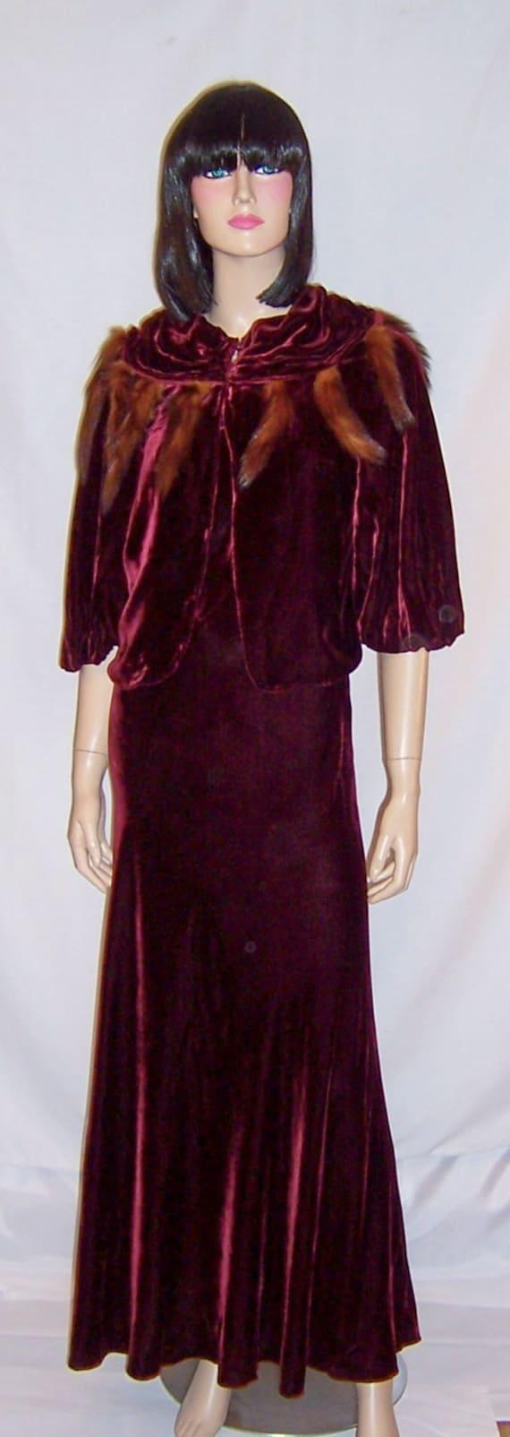1930's Deep Burgundy Silk Velvet Gown with Matchin