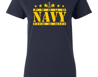 Navy Proud Mom Junior Fit Ladies Tee Shirt 1543