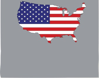 American Flag in the Shape of the US Map PHOTO TEX Removable Cling Wall Decor