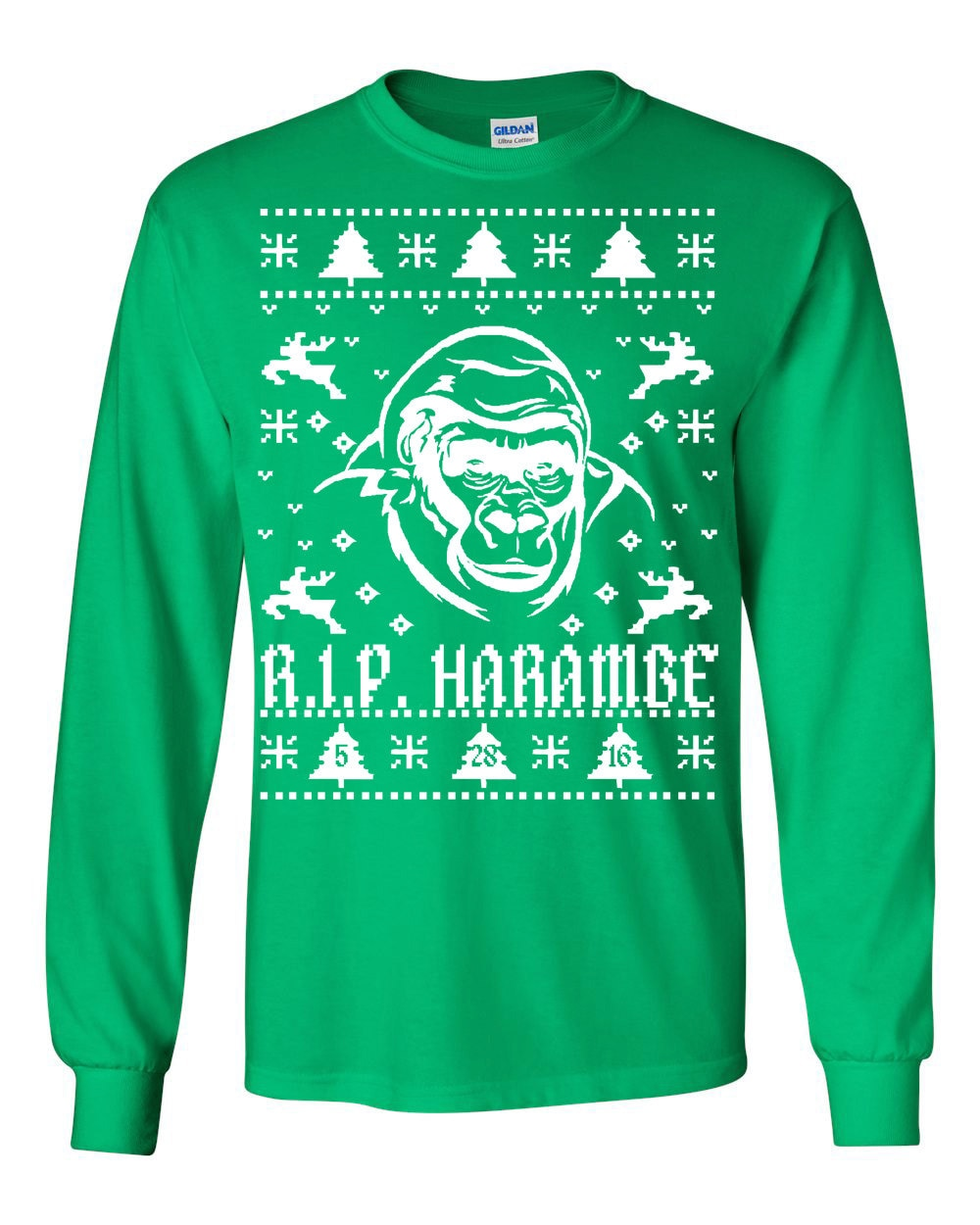 Rest in Peace Harambe Ugly Christmas Sweater Long Sleeve TEE | Etsy