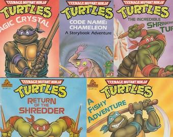 20% OFF 1990 TMNT Storybook Adventure Lot Teenage Mutant Ninja Turtles Vintage Childrens Books Donatello Michaelangelo Raphael Leonardo