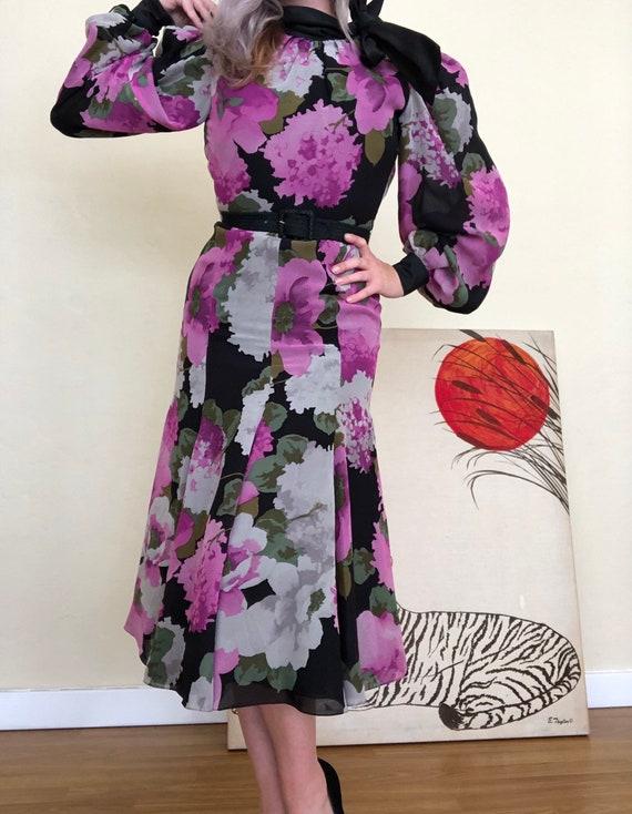 Xs 1980s Michael Novarese chiffon black and pink … - image 6