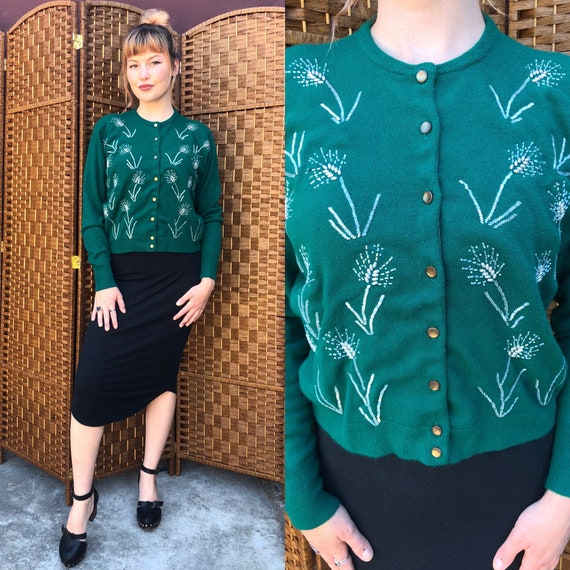 Large 1950s Forest Green Beaded Cardigan